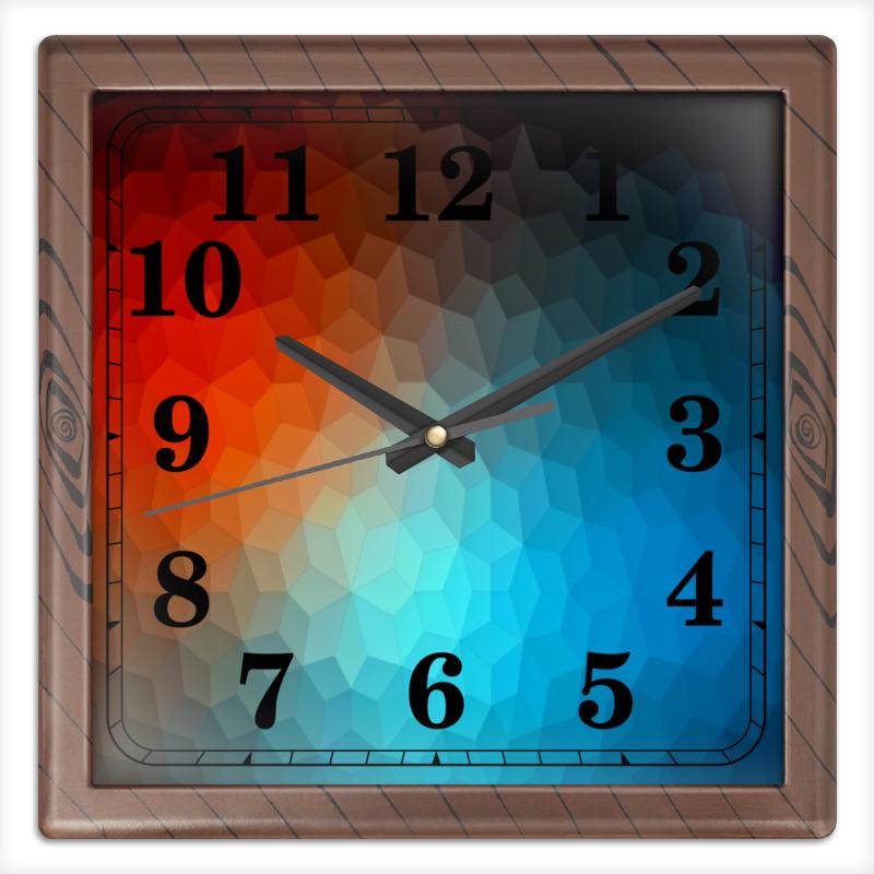 Часы квадратные из пластика (под дерево) Printio Polygon color