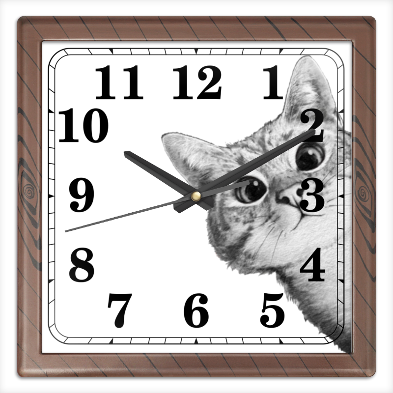 Часы квадратные из пластика (под дерево) Printio Любопытный кот часы квадратные из пластика под дерево printio отряд самоубийц