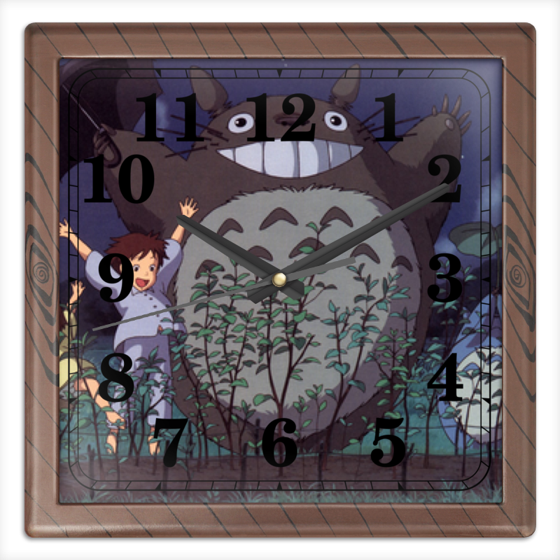 Часы квадратные из пластика (под дерево) Printio Тоторо