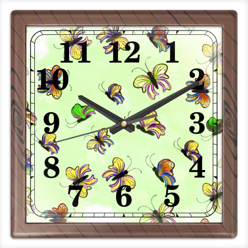 Часы квадратные из пластика (под дерево) Printio Бабочки часы квадратные из пластика под дерево printio россия