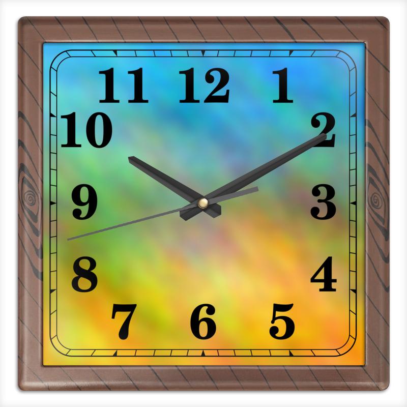 Часы квадратные из пластика (под дерево) Printio Рассвет цветовая композиция