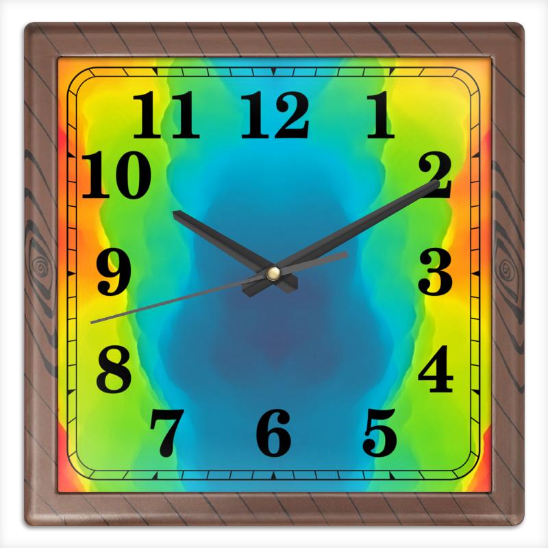 Часы квадратные из пластика (под дерево) Printio Разводы красок часы квадратные из пластика под дерево printio отряд самоубийц