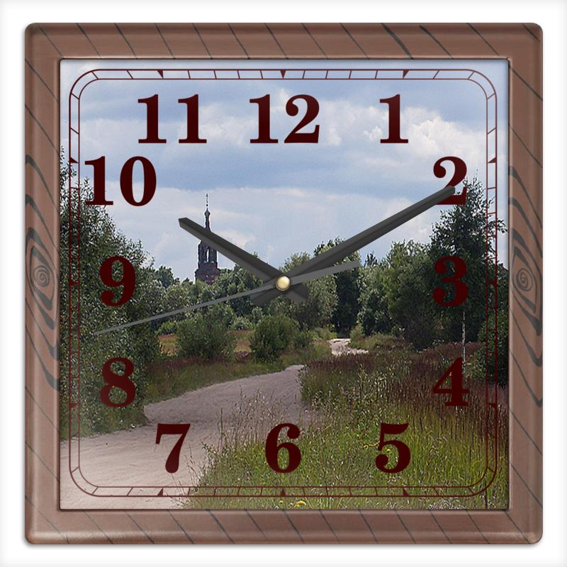 Часы квадратные из пластика (под дерево) Printio Дорога домой. часы квадратные из пластика под дерево printio дорога домой