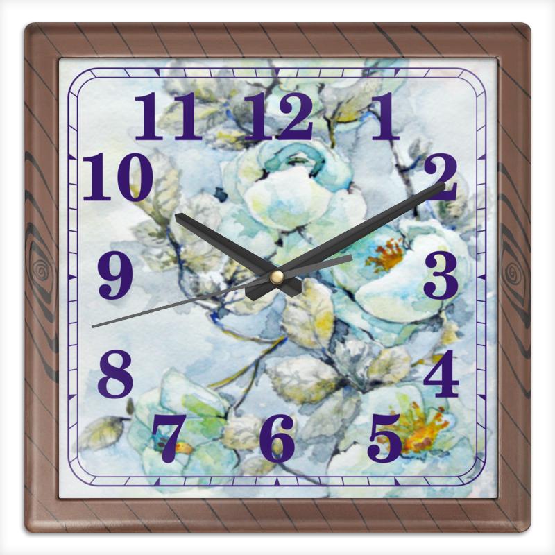 Часы квадратные из пластика (под дерево) Printio Белый шиповник часы квадратные из пластика под дерево printio россия
