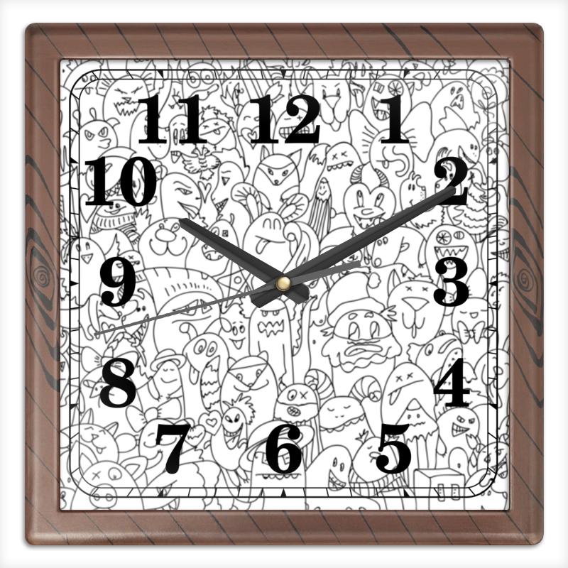 Часы квадратные из пластика (под дерево) Printio Дуд монстры часы квадратные из пластика под дерево printio россия
