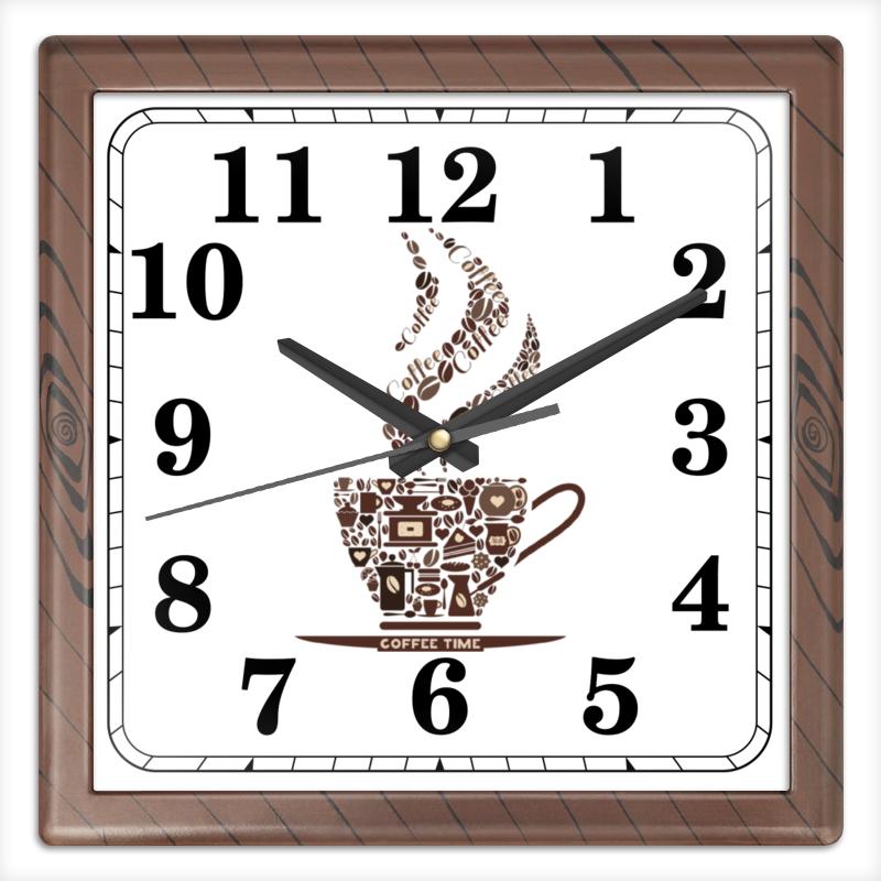 Часы квадратные из пластика (под дерево) Printio Кофейные