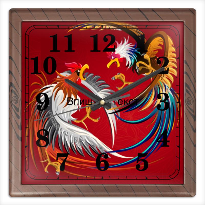 Часы квадратные из пластика (под дерево) Printio Новый год 2017 часы квадратные из пластика под дерево printio россия