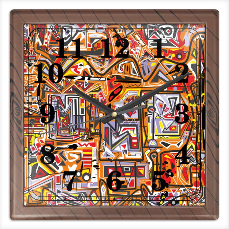 Часы квадратные из пластика (под дерево) Printio Оранжевый дом. гладильная доска ника 5
