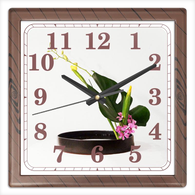 Часы квадратные из пластика (под дерево) Printio Икебана / ikebana