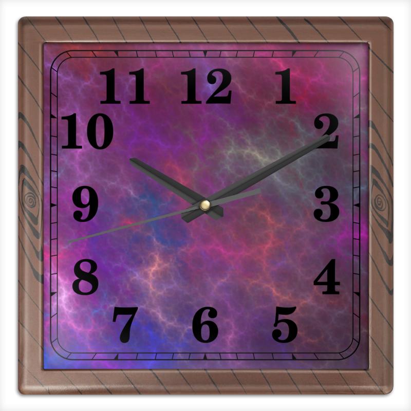 Часы квадратные из пластика (под дерево) Printio Абстрактный дизайн
