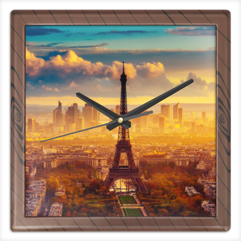 Часы квадратные из пластика (под дерево) Printio Эйфелева башня