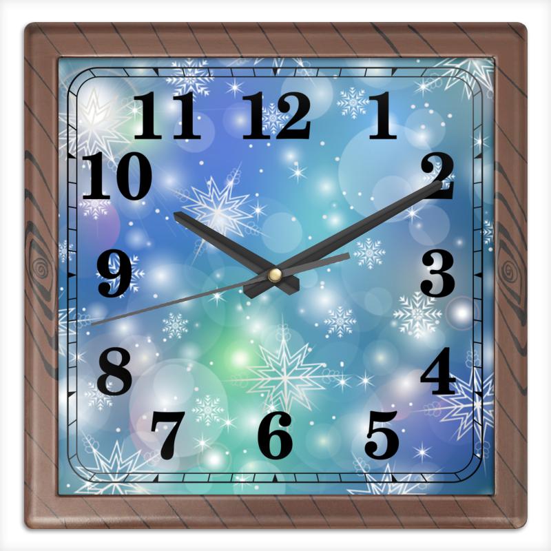 Часы квадратные из пластика (под дерево) Printio Снежинка
