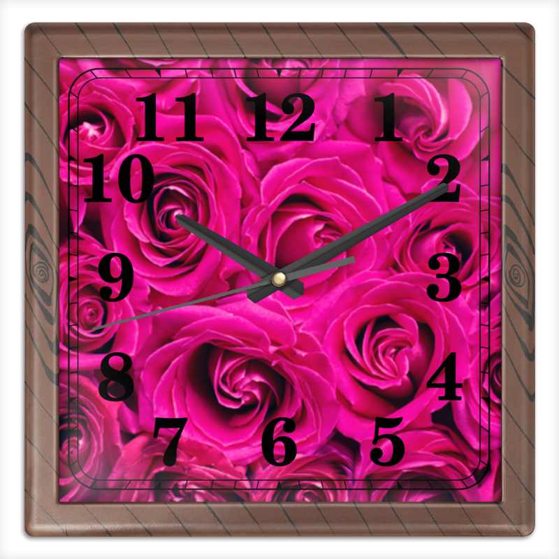 Часы квадратные из пластика (под дерево) Printio Pink roses часы квадратные из пластика под дерево printio omrewq4300