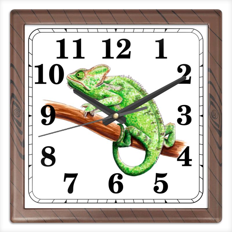 Часы квадратные из пластика (под дерево) Printio Зеленый хамелеон на ветке хлопок эпохи purcotton детей марля одеяло детское постельное белье 135x120cm 1 цзянь дерево зеленый фон белые пятна