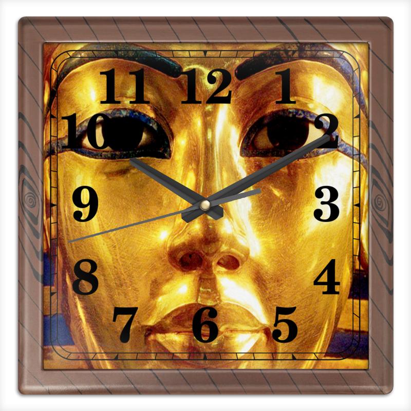 Часы квадратные из пластика (под дерево) Printio Нефертити