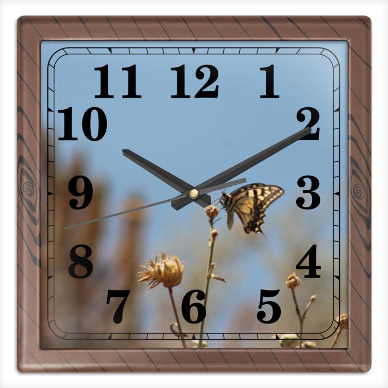 Часы квадратные из пластика (под дерево) Printio Бабочка махаон махаон лётчики