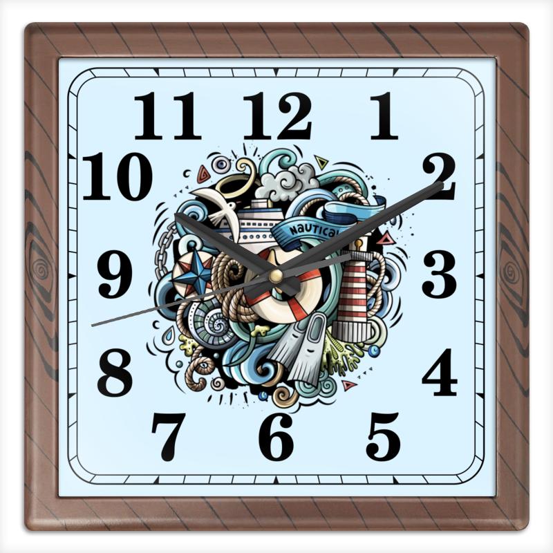 Часы квадратные из пластика (под дерево) Printio Морские часы квадратные из пластика под дерево printio полевые цветы