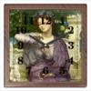 """Часы квадратные из пластика (под дерево) """"Лесбия и её воробушек (Эдвард Пойнтер)"""" - картина, живопись, мифология, пойнтер"""