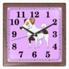 """Часы квадратные из пластика (под дерево) """"ДЖЕК РАССЕЛ.СОБАКА"""" - майкл джексон, щенок, собака, животное, рассел"""