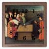 """Часы квадратные из пластика (под дерево) """"Фокусник (Иероним Босх)"""" - картина, босх"""