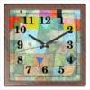 """Часы квадратные из пластика (под дерево) """"Товарищеский матч (Пауль Клее)"""" - картина, живопись, сюрреализм, клее, синий всадник"""