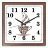 """Часы квадратные из пластика (под дерево) """"Кофейные"""" - чашка, рисунок, напиток, кофе, кухня"""