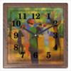 "Часы квадратные из пластика (под дерево) ""Дама в зелёном жакете (Август Маке)"" - картина, маке"