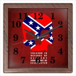 """Часы квадратные из пластика (под дерево) """"Флаг Конфедерации США"""" - череп, америка, флаг, сша, флаг конфедерации"""