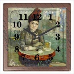 """Часы квадратные из пластика (под дерево) """"Агостина Сегатори в кафе «Тамбурин»"""" - картина, портрет, ван гог, живопись, постимпрессионизм"""