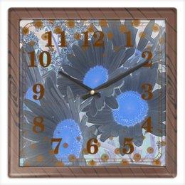 """Часы квадратные из пластика (под дерево) """"Ромашки."""" - цветы, ромашка, ромашки, горошек, цветник"""