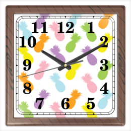 "Часы квадратные из пластика (под дерево) ""Ананасы!"" - паттерн, радуга, фрукты, узор, ананас"