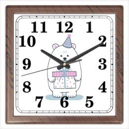 """Часы квадратные из пластика (под дерево) """"Полярный медведь."""" - праздник, медведь, рисунок, север, полярный"""
