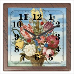 """Часы квадратные из пластика (под дерево) """"Букет цветов на полке (Амброзиус Босхарт)"""" - цветы, картина, живопись, натюрморт, босхарт"""