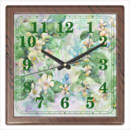 """Часы квадратные из пластика (под дерево) """"Жасмин"""" - цветок, зеленый, оригинальный, акварель, нежный"""