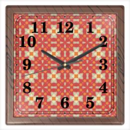 """Часы квадратные из пластика (под дерево) """"omrewq4300"""" - арт, узор, абстракция, фигуры, текстура"""
