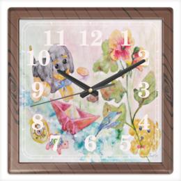 """Часы квадратные из пластика (под дерево) """"Плюшевая история"""" - добрый, цветок, игрушки, оригинальный, акварель"""