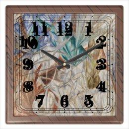 """Часы квадратные из пластика (под дерево) """"Стекло (картина Михаила Ларионова)"""" - картина, живопись, авангард, ларионов"""