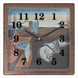 """Часы квадратные из пластика (под дерево) """"Мягкие часы Сальвадора Дали"""" - картина, сальвадор дали, постоянство памяти, мягкие часы, расплавленные часы"""