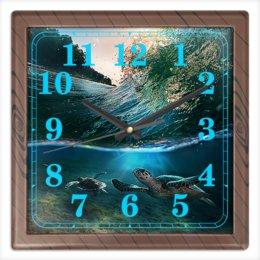"""Часы квадратные из пластика (под дерево) """"МОРСКИЕ"""" - стиль, волна, красота, вода, черепашки"""