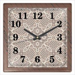 """Часы квадратные из пластика (под дерево) """"Ажурные"""" - 8 марта, орнамент, подарок, кружево, ажур"""