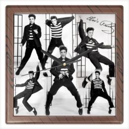 """Часы квадратные из пластика (под дерево) """"Элвис Пресли"""" - музыка, элвис пресли"""