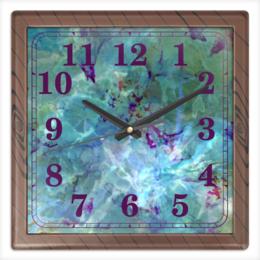 """Часы квадратные из пластика (под дерево) """"Солнце,вода,цветы. Абстракция"""" - цветок, голубой, оригинальный, акварель, нежный"""