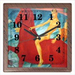 """Часы квадратные из пластика (под дерево) """"Купание красного коня"""" - картина, живопись, авангард, модерн, петров-водкин"""