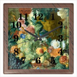 "Часы квадратные из пластика (под дерево) ""Фрукты и цветы (Ян ван Хёйсум)"" - цветы, картина, живопись, натюрморт, ян ван хёйсум"