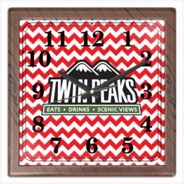"""Часы квадратные из пластика (под дерево) """"Твин Пикс"""" - twin peaks, твин пикс, дэвид линч, david lynch"""