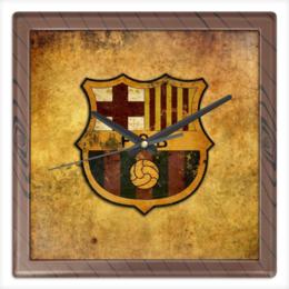 "Часы квадратные из пластика (под дерево) ""Барселона"" - футбол, арт, спорт, барселона, barcelona, football, fc"