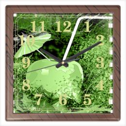 """Часы квадратные из пластика (под дерево) """"Яблочный микс"""" - напиток, абстракция, яблоко, фрукт, натюрморт"""