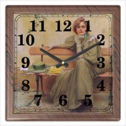 """Часы квадратные из пластика (под дерево) """"Мечты (Витторио Коркос)"""" - картина, философия, меланхолия, живопись, коркос"""