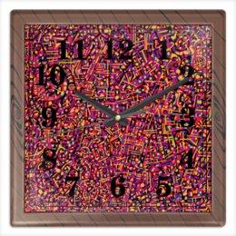 """Часы квадратные из пластика (под дерево) """"Карамель."""" - арт, узор, абстракция, фигуры, текстура"""