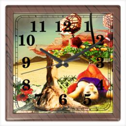 """Часы квадратные из пластика (под дерево) """"Нега."""" - девушка, пустыня, апельсины, расслабление, нега"""